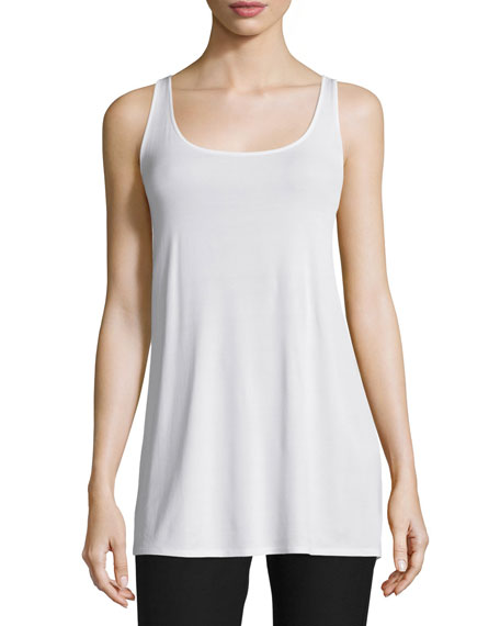 Eileen Fisher Long Silk Jersey Tunic, Soft White,
