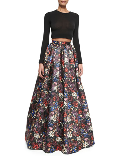 Tina Floral-Print Ball Skirt