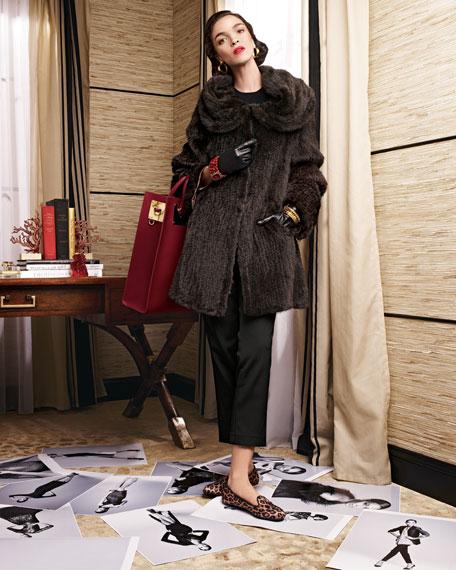 Mink Fur Oversized-Collar Coat