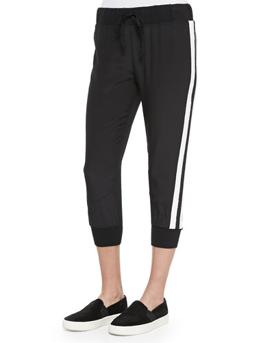 Cropped Sweatpants with Stripes