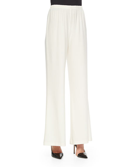 Caroline Rose Stretch-Knit Wide-Leg Pants, White, Petite