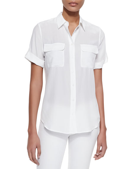 Equipment Short-Sleeve Slim Signature Silk Blouse, Bright White