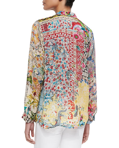 Milla Long-Sleeve Floral-Print Blouse, Plus Size