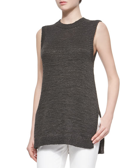 Knitting Pattern For Sleeveless Sweater : Theory Meenaly Sleeveless Knit Loose Sweater