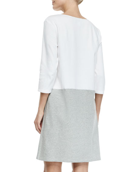 3/4-Sleeve Colorblock Dress, White/Heather Gray, Petite