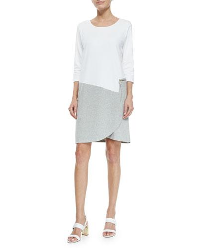 3/4-Sleeve Colorblock Dress, White/Heather Gray, Petite