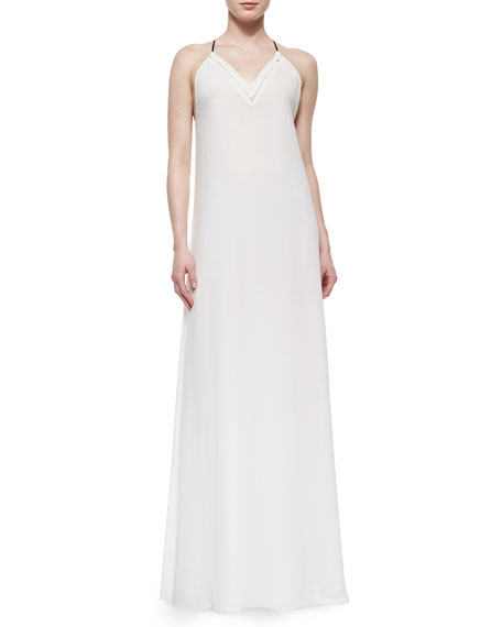 Andrew Marc V-Neck Georgette Maxi Dress