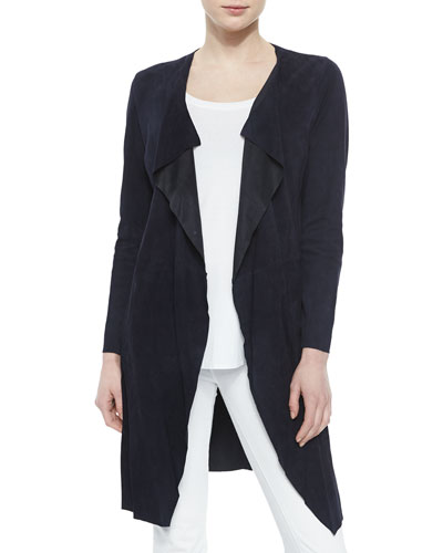 Draped Goat-Suede Duster, Navy