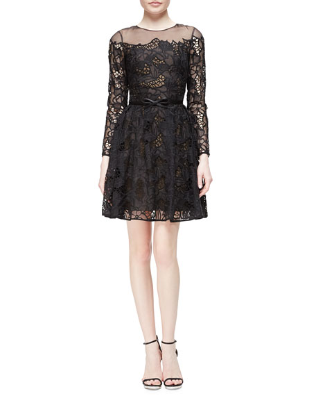 Marchesa Long-Sleeve Belted Lace Flare Dress