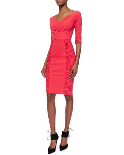 Samaritana 3/4-Sleeve Ruched Dress, Coral
