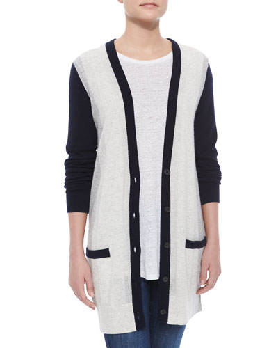Two-Tone Knit Cashmere Cardigan