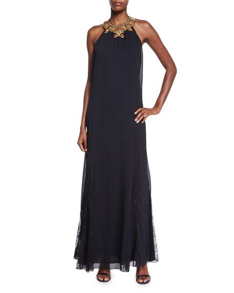 Alice + Olivia Ravi Embellished-Neck Maxi Dress