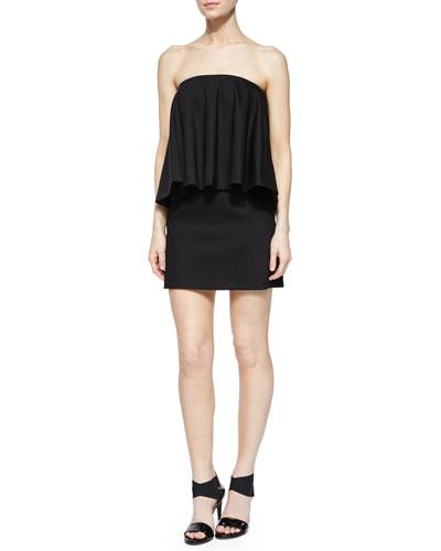 Tabitha Strapless Draped-Overlay Dress, Black