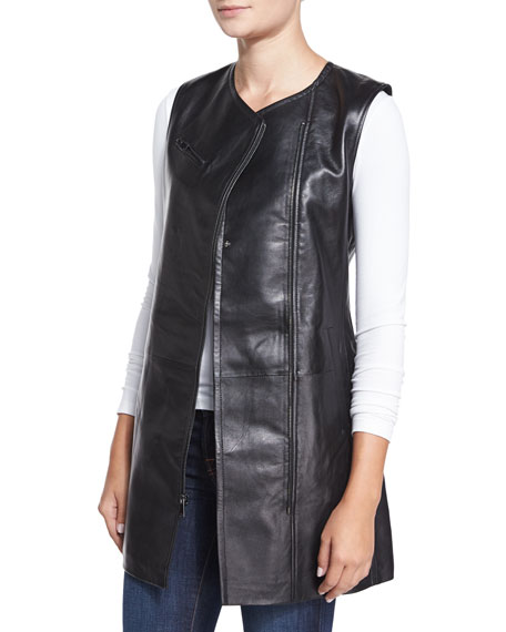 Neiman Marcus Sleeveless Leather Zip-Front Vest