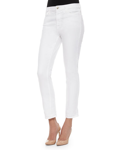 JEN7 Stretch Straight Leg Crop Jeans in White Denim