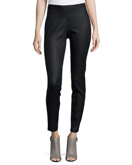 Eileen Fisher Coated Stretch Denim Leggings, Black