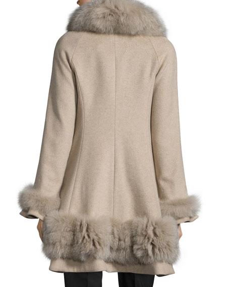 Belle Fare Cashmere Swing Coat with Fur Cuffs & Trim