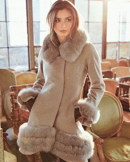 Cashmere Swing Coat with Fur Cuffs & Trim