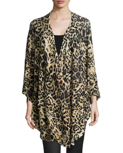 Animal-Print Cashmere Shawl