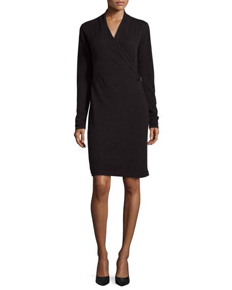 Neiman Marcus Cashmere Collection Faux-Wrap Buckle Cashmere Dress