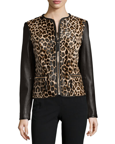 Leopard-Print Long-Sleeve Combo Jacket, Black/Leopard