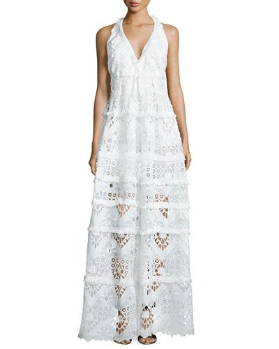 Nubia Crochet Halter Maxi Dress, White