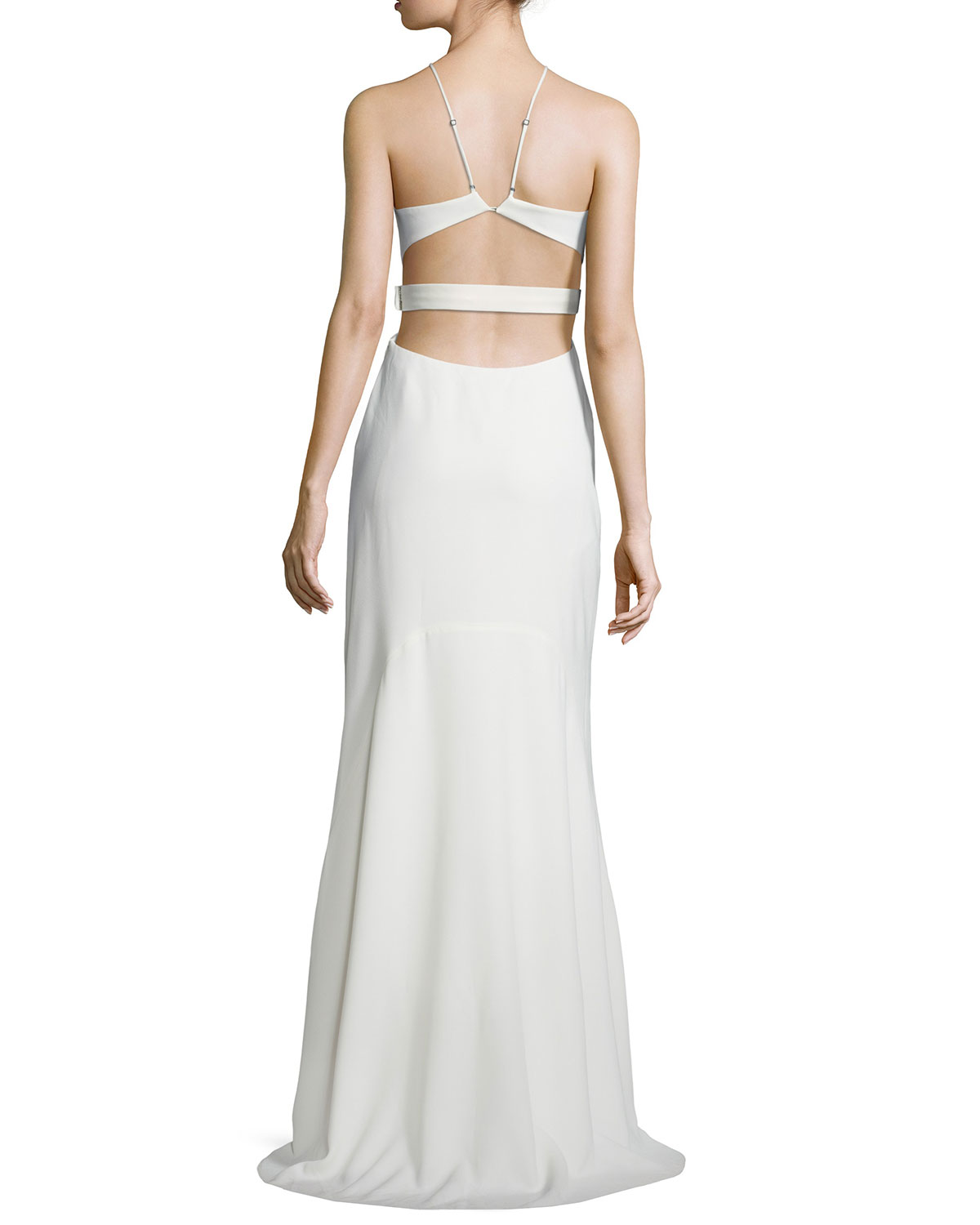 cdf2bb46ccd Halston Heritage Halter Back-Cutout Cocktail Gown