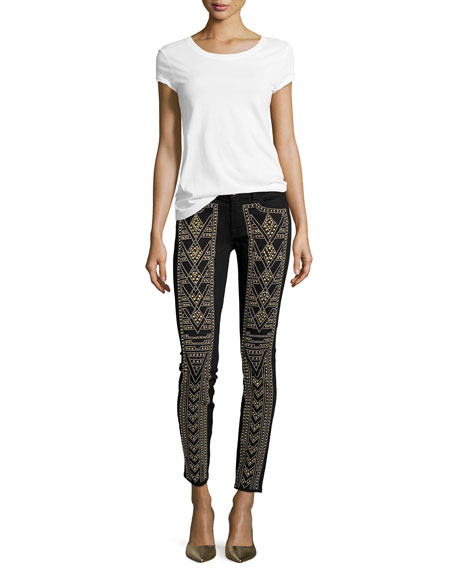 Gold-Studded Skinny Jeans, Black