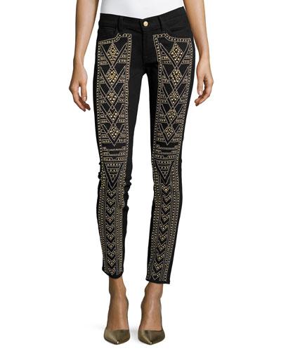 Gold-Studded Skinny Jeans, Black