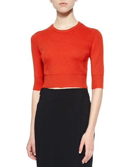 A.L.C. Hansen Merino Cropped Sweater, Rouge
