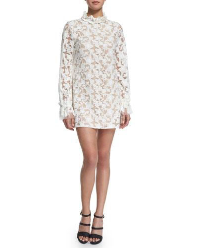 Alanis Long-Sleeve Floral-Lace Mini Dress, White