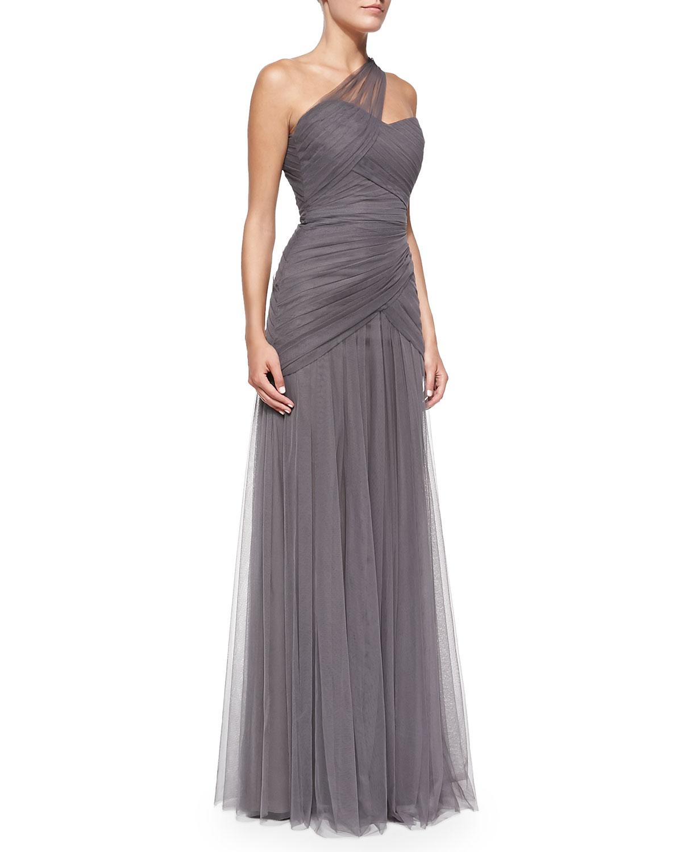e53edc3e36c ML Monique Lhuillier One-Shoulder Draped Tulle Gown