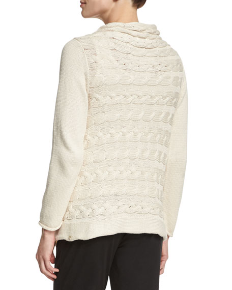 Draped-Neck Cable-Knit Cardigan
