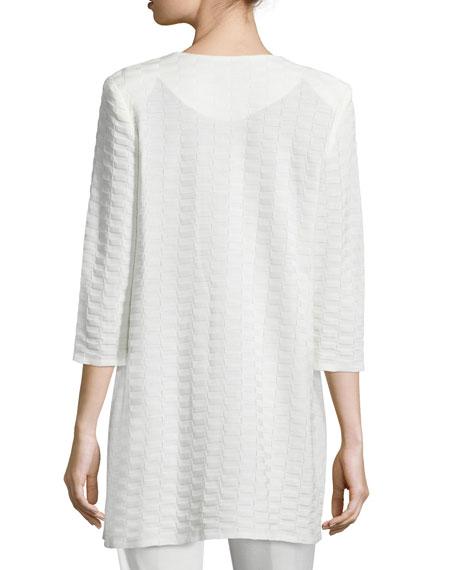 Misook Plus Size Textured Long Open Jacket