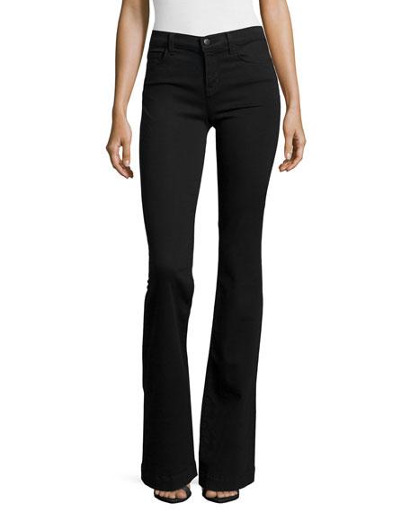 J Brand Maria High-Rise Flare Jeans, Black Shadow