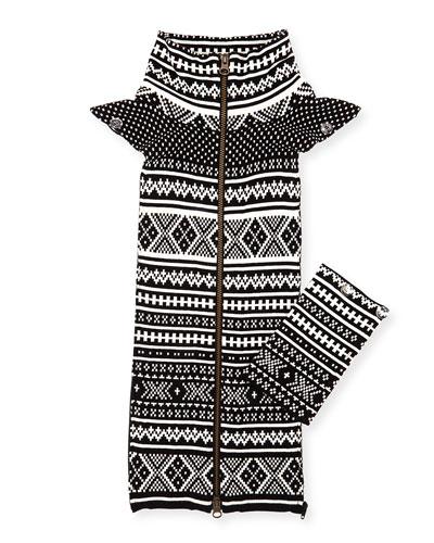 Jacquard Ski-Print Leather Dickey, Black/White