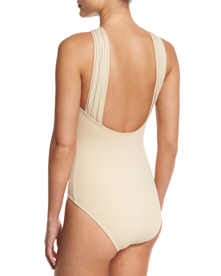 Long Bar High-Neck One-Piece Swimsuit