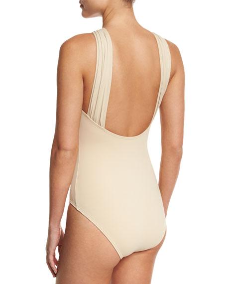MICHAEL Michael Kors Long Bar High-Neck One-Piece Swimsuit