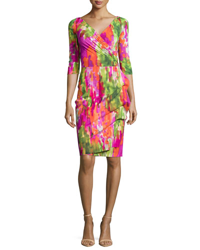 Florien 3/4-Sleeve Printed Ruched Dress