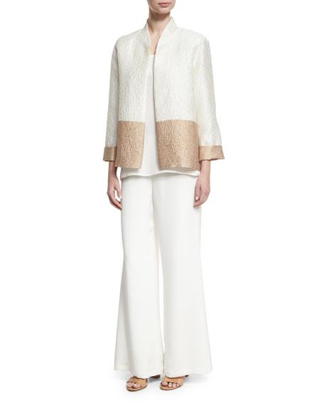Silk Wide-Leg Pants, White