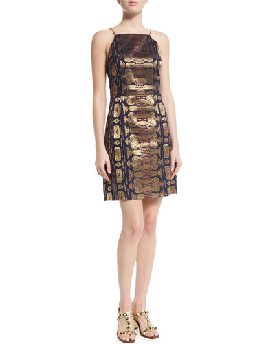 Metallic Jacquard Halter Dress