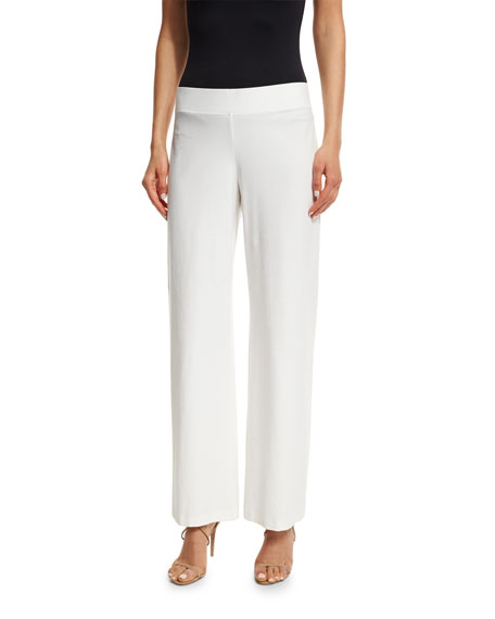 Eileen Fisher Wide-Leg Stretch-Crepe Pants, White, Plus Size