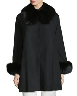 Cape Coat with Fox Collar and Cuff