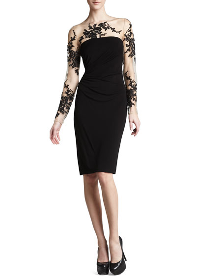 Long-Sleeve Embroidered Jersey Dress