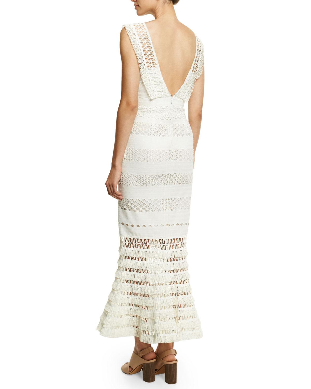 925d2d6a603fc Jonathan Simkhai Mechanical Macrame Gown, Ivory   Neiman Marcus