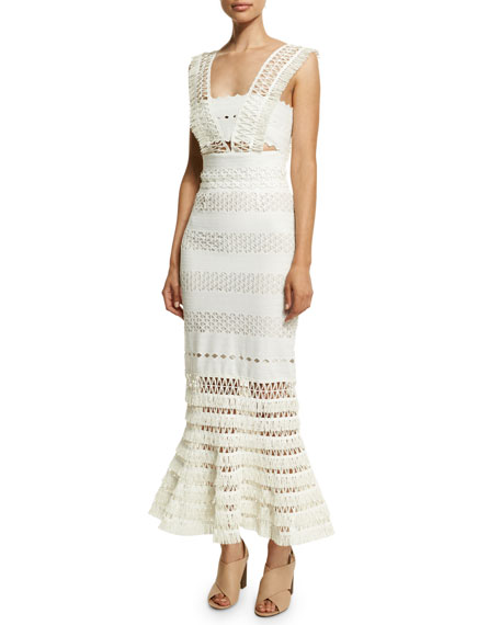 Jonathan Simkhai Mechanical Macrame Gown, Ivory