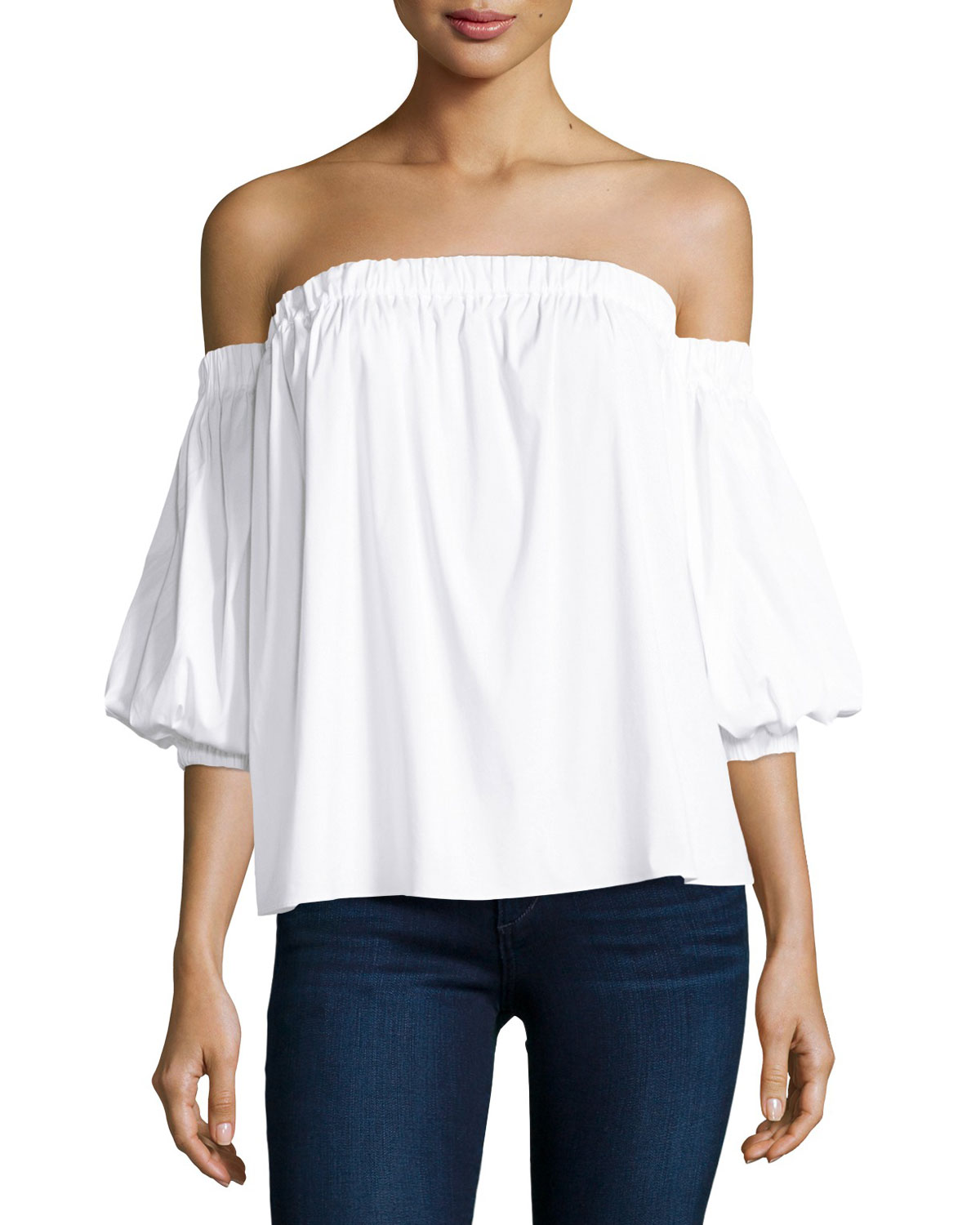 5870b19e99e70 Milly Off-the-Shoulder Stretch-Cotton Blouse