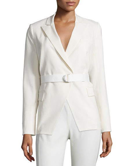 Veronica BeardPalm Belted Open-Front Jacket, White