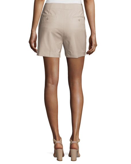 Masibeth Continuous Wool-Blend Shorts, Gray Khaki
