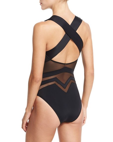 Bane Geo-Mesh One-Piece Swimsuit